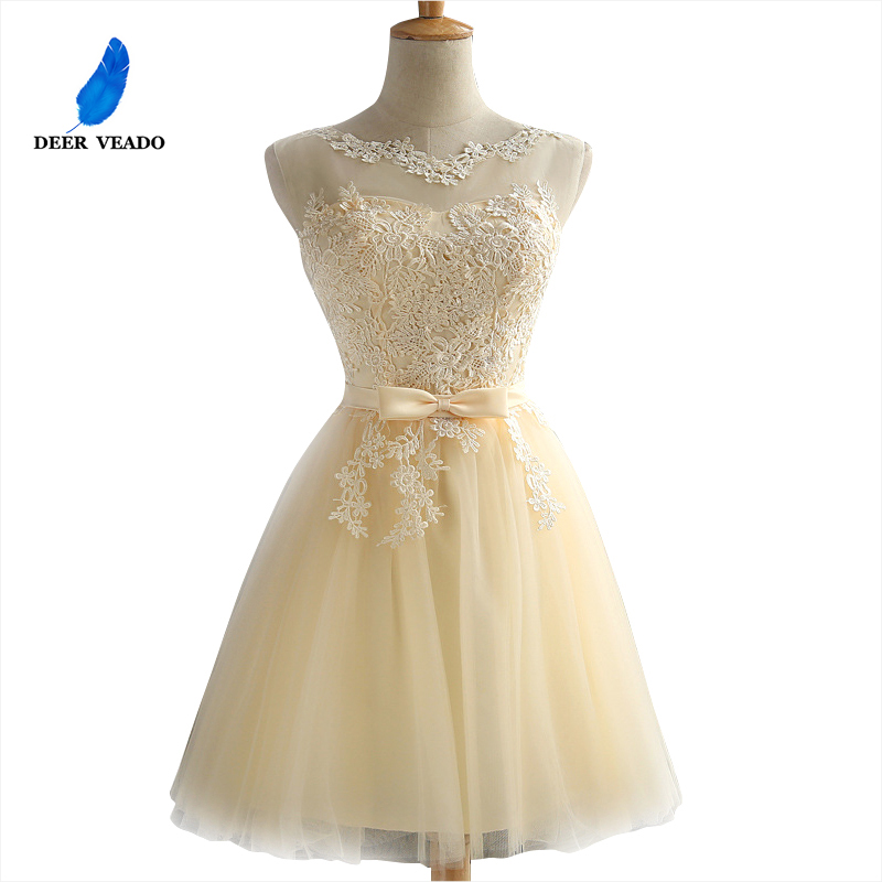 DEERVEADO Robe   Cocktail   Party   Dress   2019 Elegant Backless Short   Cocktail     Dresses   Adjustable Lace Up Back Prom   Dress   CH604B