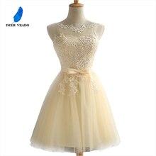 Женское коктейльное платье DEERVEADO, элегантное короткое коктейльное платье с открытой спиной и регулируемой спинкой, модель CH604B 2020 года