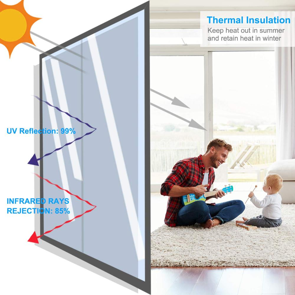 0 5 3 m Window Heat Control Film Anti UV One Way Mirror Film Privacy Self adhesive Glass Window Tint for Home and Office Silver in Decorative Films from Home Garden