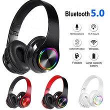 B39 słuchawki bluetooth V5.0 bezprzewodowe przenośne składane wsparcie karta TF wbudowany odtwarzacz FM mp3 z kolorowe światła LED