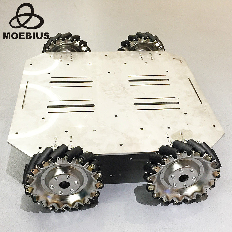 70kg Heavy-Duty Mecanum Wheel Trolley Omnidirectional Wheel Mobile Robot Metal Chassis For Research