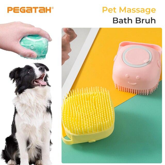 Pet Dog Silicone Bathing Brush Irrigation Liquid dog supplies Pet Massage Brush Bathing Shampoo Brush Cat Massage Comb 1