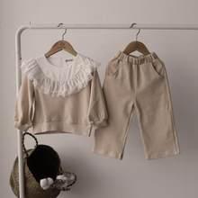 Kinder Kleidung 2021 Frühling Neue Baby Mädchen Spitze Rüschen Kragen Baumwolle Casual Sweatshirt Set Kinder Mädchen Tops Hosen Outfits Anzug
