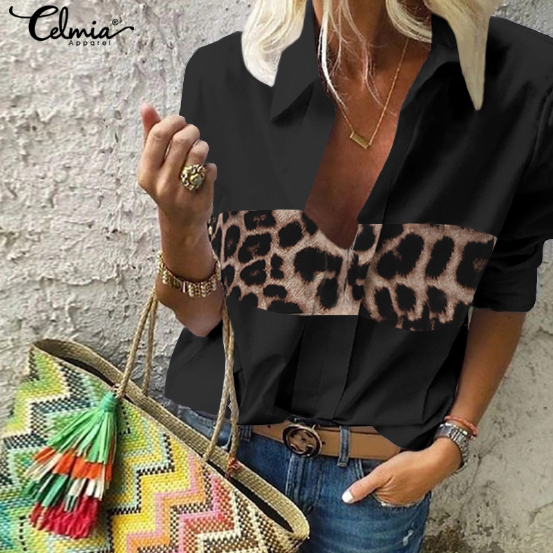 Sexy Leopard Stitching Blouse Women's Clothing Celmia 2019 Autumn V-Neck Long Sleeve Shirts Casual Loose Tops Vintage Blusas 5XL
