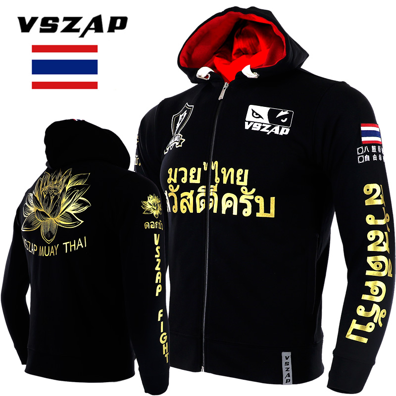 VSZAP Lotus Men MMA Hoodies Coat Autumn Fleece Thicken Unisex Muay Thai Sweatshirts