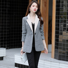High quality 2019 autumn new small plaid long-sleeved slim jacket Ladies blazer Temperament business office suit female 4 colors business office ladies jacket autumn new single breasted plaid women s blazer temperament slim long sleeve suit female 2019
