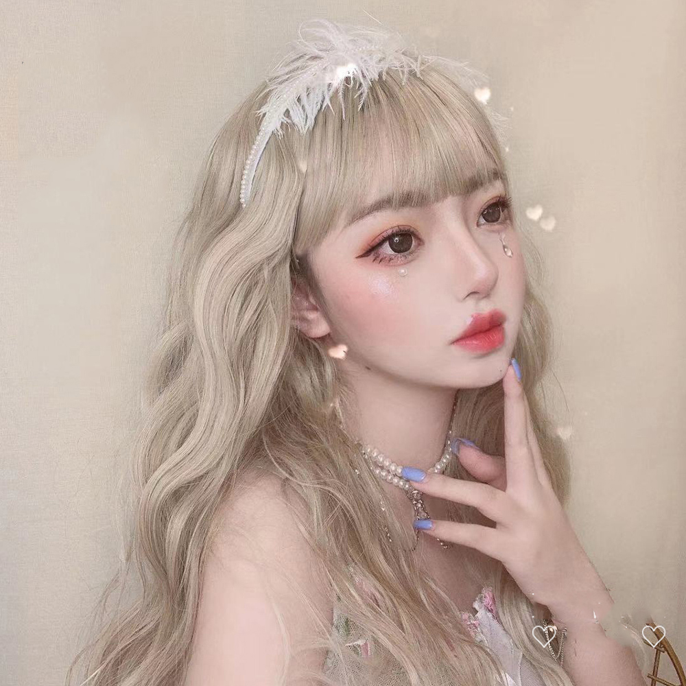 MANWEI56CM Lolita Long Curly Bangs Linen Light  Cute Heat Resistant Party Synthetic Hair Ombre Cosplay Wig