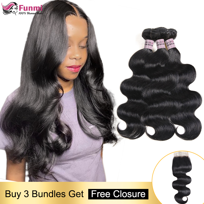 Free Closure Body Wave Human Hair Bundles Indian Hair Weave Bundles Body Wave Hair Bundles With Closure Human Hair Non-Remy