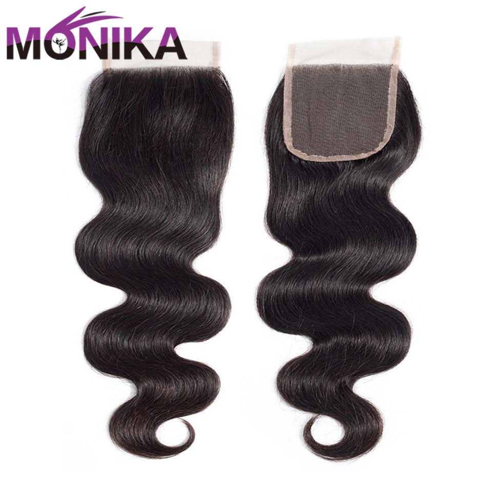 Image 4 - Monika 4x4 Lace Closure Hair Brazilian Body Wave Closure Human Hair Closure Free/Middle/3 Part Swiss Lace Closures Natural Color-in Closures from Hair Extensions & Wigs