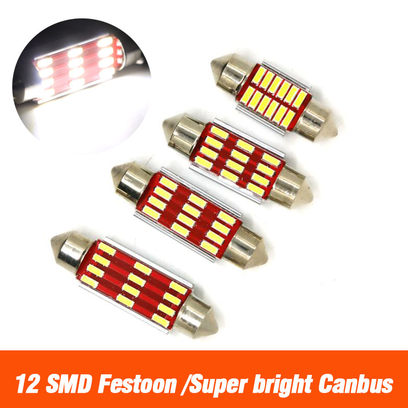 Festoon 31mm 36mm 39mm 41mm LED Bulb C5W C10W Dome Lamp Auto Light CANBUS NO Error <font><b>12</b></font> <font><b>SMD</b></font> 4014 LED Car Interior Reading Bulb 12V image