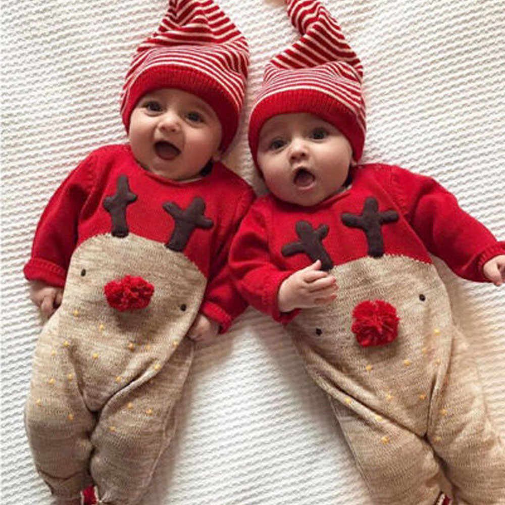 Toddler Infant Overalls Baby Clothes  Newborn Kid Baby Deer Christmas Boys Girls Clothes long Sleeve Jumpsuit+Hat Set Outfits