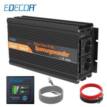 EDECOA 2500W pure sine wave solar power inverter DC 12V to AC 220V 230V peak 5000W with remote controller off grid inverter
