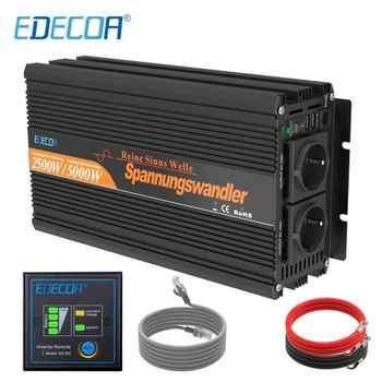 Edecoa 2500W Pure Sinus Solar Power Inverter Dc 12V Naar Ac 220V 230V Piek 5000W Met Afstandsbediening Off Grid Inverter