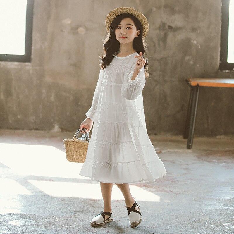 Image 4 - New 2019 Girls White Dress Cotton Loose Dress  Kids Dresses for Girls Baby Princess Dress Children Korean Personality,#5341Dresses   -