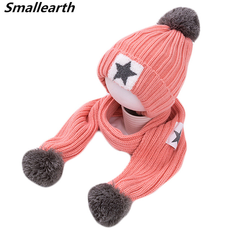 New Winter Baby Kids Plus Velvet Hat Scarf Sets Boys Neck Warmer Girl Knitted Caps Children Warm Plush Beanies Scarf 2pcs/Set