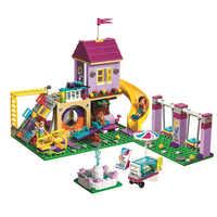 332 Uds Legoinglys Friends 41325 Girl Heartlake City patio de juegos bloques de construcción juegos de educación juguetes para niñas regalo