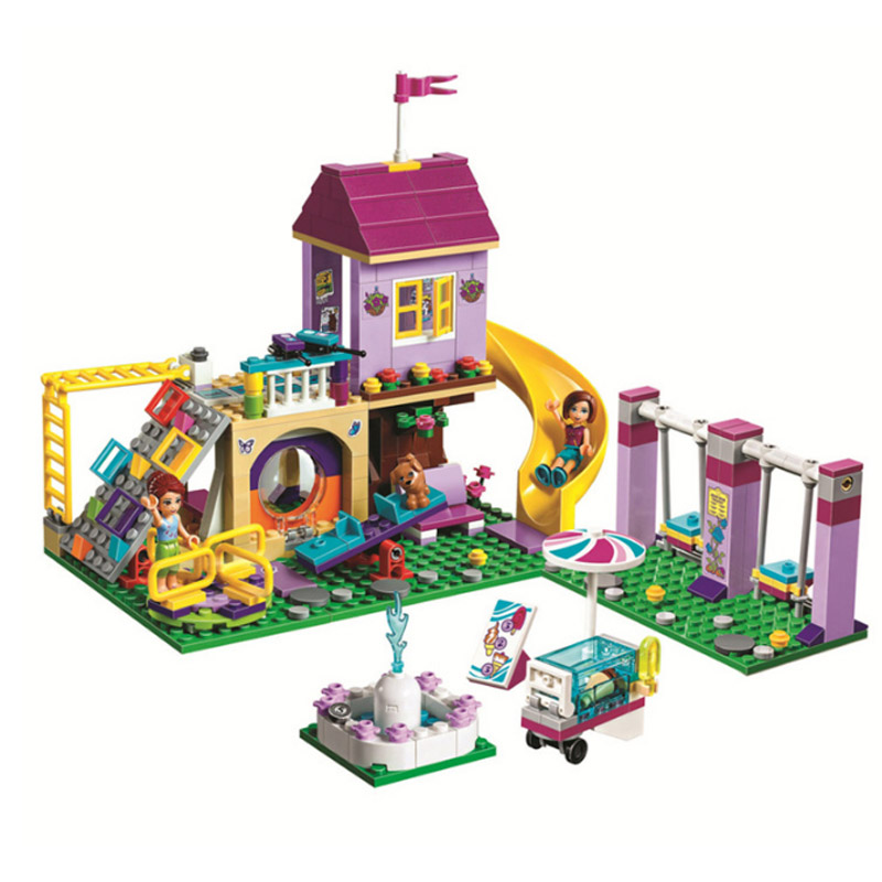 332 pçs legoinglys amigos 41325 menina heartlake cidade playground blocos de construção tijolos conjuntos educação brinquedos para meninas presente