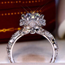 Fashion Shiny Brilliant Cubic Zirconia Rings for Women Engagement White Gold Color Finger Ring Bridal Wedding Jewelry Gifts