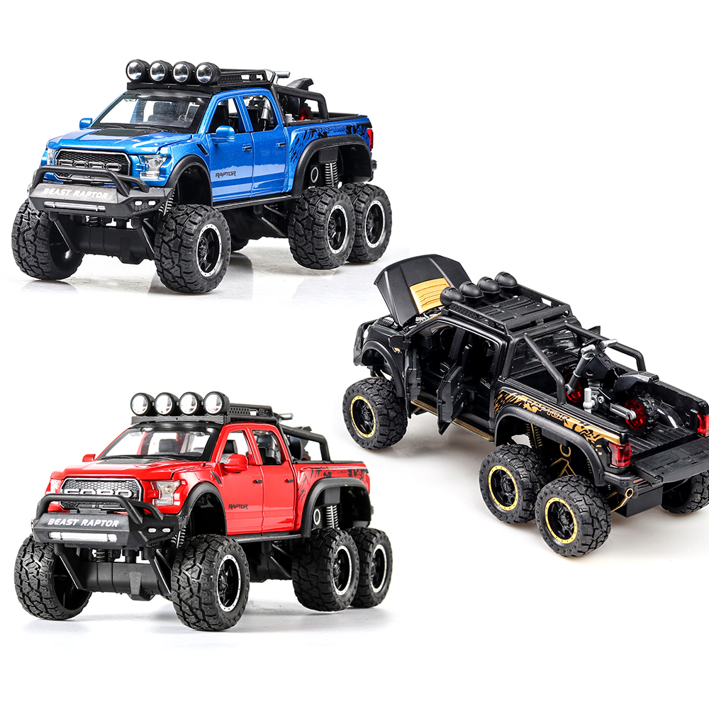 1:32 Ford Raptor F150  Metal Body Doors Can Be Opened Musical Lighting Machine Diecast Toy Vehicles Hot Wheel Car Model
