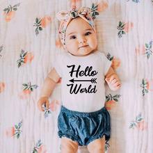 Hello World letnie śpioszki dla niemowląt śliczne chłopięce dziewczęce ubrania z krótkim rękawem dziecięce Unisex dziecięce jednoczęściowe kombinezony tanie tanio O-neck jiangkao Dla dzieci List Swetry cotton RL60+RL61 Pajacyki Pasuje prawda na wymiar weź swój normalny rozmiar