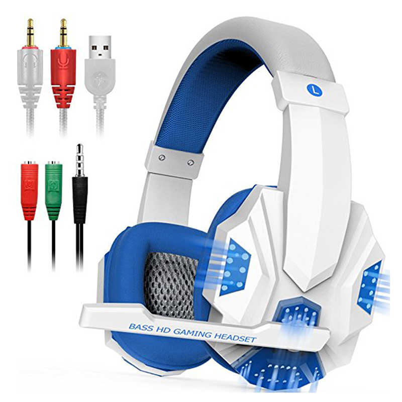 Game Baru Headset Earphone Bass Stereo Sound Headset Kabel Gamer Headphone dengan Mikrofon LED Light untuk PS4 PC Laptop