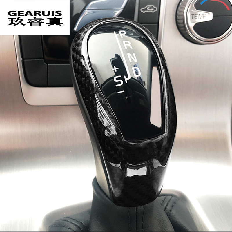 Car Styling Carbon Fiber Style Gear Shift Handle Sleeve Buttons Covers Stickers For Volvo XC60 S60 V40 V60 Interior Accessories