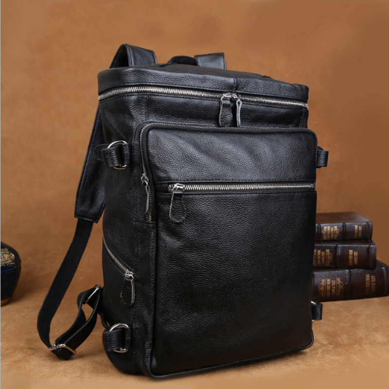 Luufan haute couture hommes en cuir sac à dos sac à dos pour ordinateur portable 15 17 pouces ordinateur sac voyage sac à dos hommes mâle 2019 nouveau