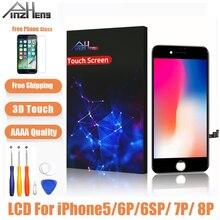 Aaaa qualidade da tela lcd para iphone 5 6s 7 8 mais display lcd assembléia digitador nenhum pixel morto com toque 3d substituição lcd