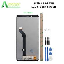 Alesser 노키아 3.1 플러스 LCD 디스플레이 및 터치 스크린 스크린 디지타이저 어셈블리 교체 노키아 3.1 플러스 + 도구 + 접착제