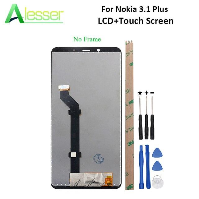 Alesser pour Nokia 3.1 Plus écran LCD et écran tactile numériseur assemblée remplacement pour Nokia 3.1 Plus + outil + adhésif