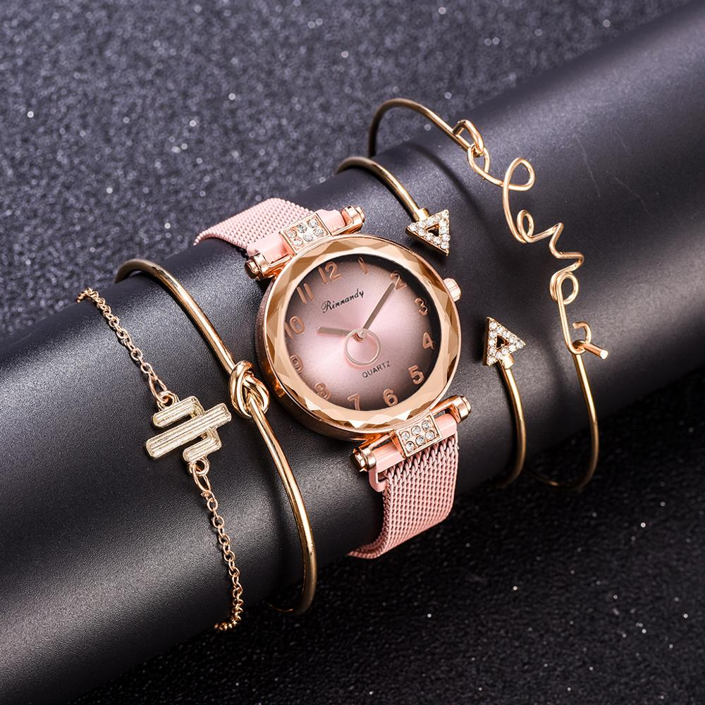 5pc/set Luxury Brand Women Watches Gradient Magnet Watch Buckle Fashion Casual Female Wristwatch Arabic Numeral Simple Bracelet