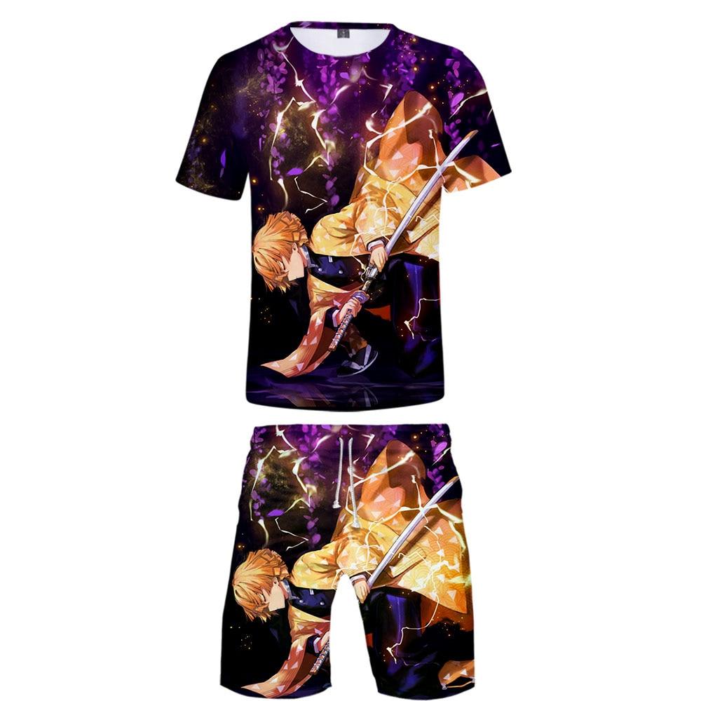 Demon Slayer Kimetsu No Yaiba Cool Harajuku Fashion New Arrival 3D Streetwear Two Piece Set O-neck Tshirt And Shorts Men's Set