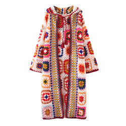 Handmade Crochet Hooded Long Coat Autumn and Winter Color Blocking Knitted Sweater Cardigan Women Plus Size Women Sweaters