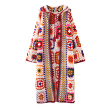 Handmade Crochet Hooded Long Coat Autumn and Winter Color Bl