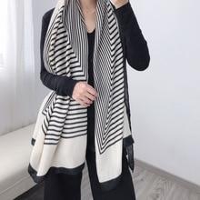 2020 mode Streifen Winter Schal Frauen Baumwolle Warme Pashmina Foulard Dame Luxus Marke Schals Dicke Weiche Bufanda Schals Wraps