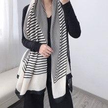Bufanda de invierno a rayas para mujer, Pashmina cálida de algodón, Fular de marca de lujo, chales gruesos y suaves, 2020
