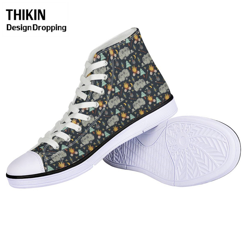 THIKIN Women Casual Vulcanize Shoes Happy Winter Camper-pattern Girls Lacing Canvas Shoes High-top Sport Sneakers Zapatos Mujer