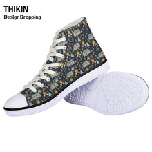 THIKIN Women Casual Vulcanize Shoes Happy Winter Camper-pattern Girls Lacing