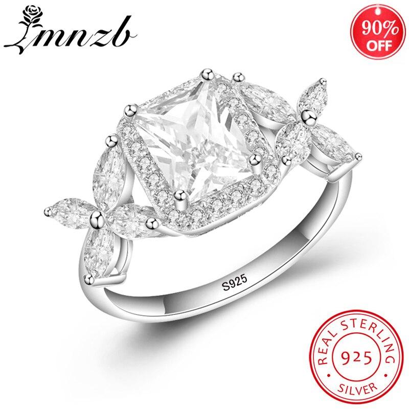 LMNZB оригинальные кольца из стерлингового серебра 925 пробы для женщин, модные ювелирные изделия, полностью кубический циркон, женские кольца
