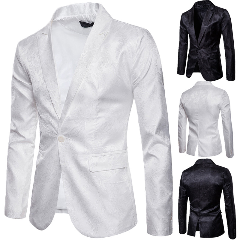 Men Casual Slim Fit White Suit Blazers Jacquard Blazer Man Casual Work Formal One Button Suit Jacket Top Outwear Sale Coats Male