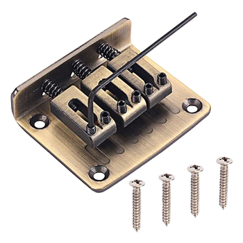 3 String Chrome Hardtail Adjustable Bridge for Cigar Box Guitar Parts