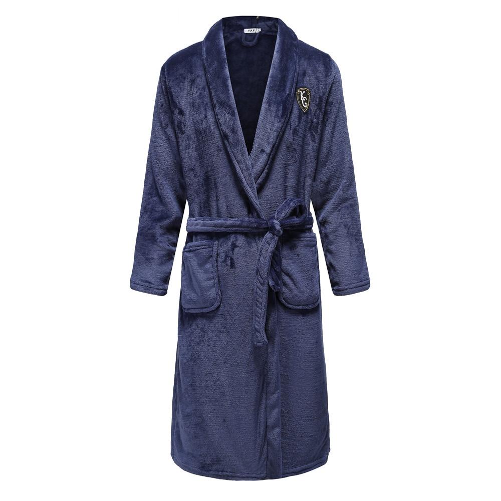 Casual Plus Size Men Flannel Kimono Robe Gown Winter Keep Warm Sleepwear Homewear Comfortable Lovers Knee-length Full Pajamas