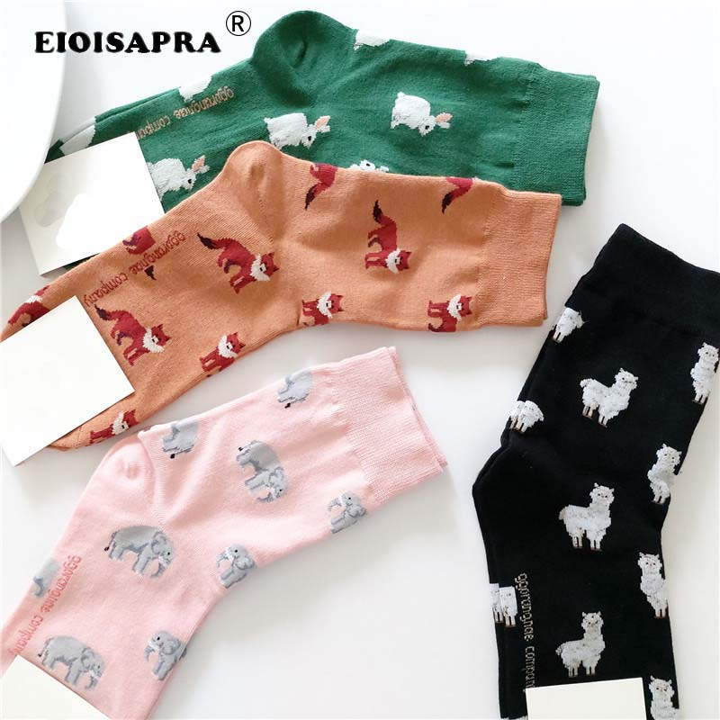 [EIOISAPRA]Spring Autumn New Product Casual Korean Style Women Animal Cartoon Fox Elephant Rabbit Sheep Cotton Tide Short Socks