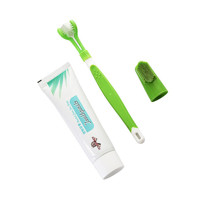 Pet Dog Cat Toothbrush Set Edible Toothpaste Oral Care Cleaning Toothbrush Addition Bad Breath Tartar Teeth Care Dog Supplie Set image