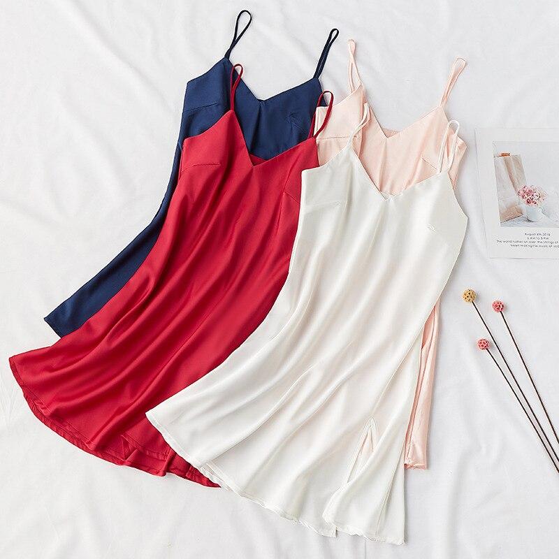 Sexy Silky Women Sleep Robe Strap Top Sleepwear V-Neck Nightdress Lady Home Wear   Nightgown   Bath Gown   Sleepshirts   Bathrobe M-XL