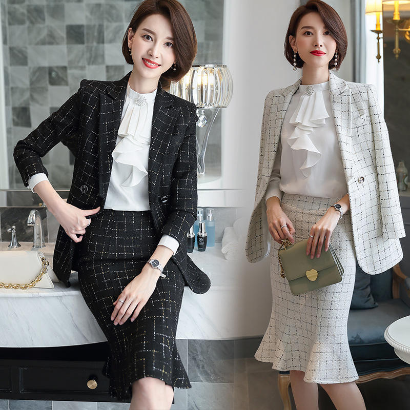 Women's Black White Sequins Plaid Outfits Elegant Blazer Skirt 2 Pieces Business Career Skirt Suits Office Clothes Skirt Set