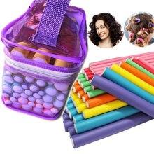 42 pçs rolo flexível cilindro de espuma ferramentas de ondulação do cabelo feminino menina portátil modelador de cabelo espuma rolo hastes diy ferramentas estilo de cabelo