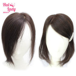 Hair Halo Toppers Human-Hair-Pieces Toupees Clip-In Side-Swept Brazilian Women Lady Bang