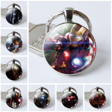 цена Marvel Superhero Figure Keychain Iron Man Avengers Keychain glass ball Key Ring Holder Gift Toys онлайн в 2017 году