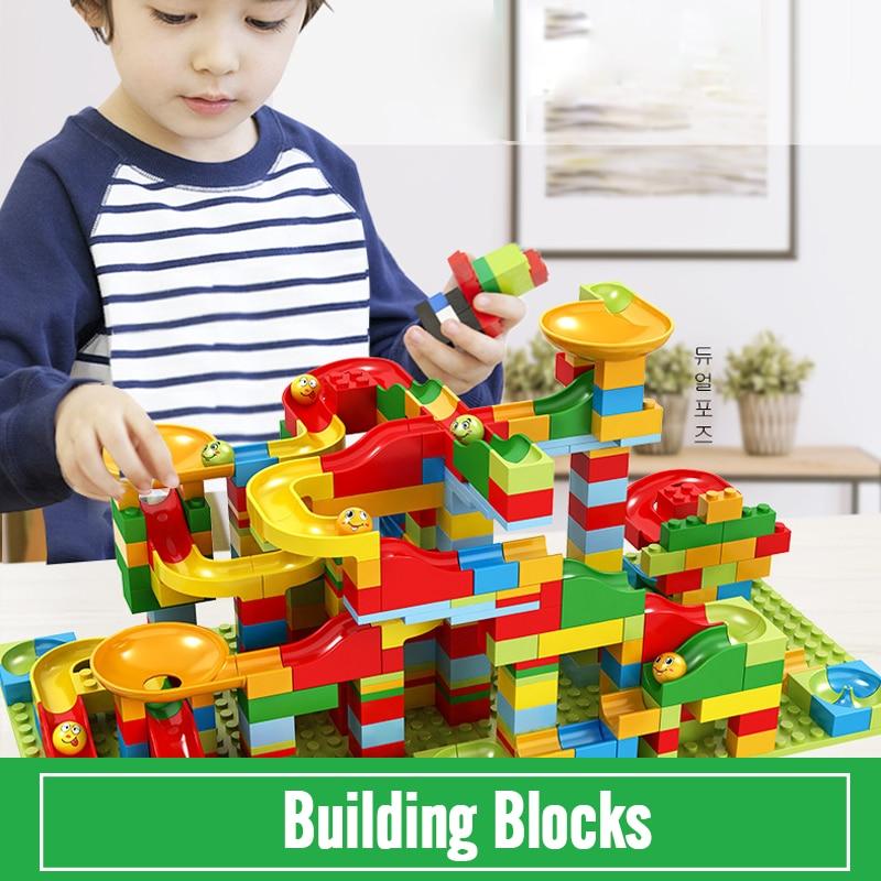 Big Size 54-330PCS Track Blocks Marble Race Run Maze Ball Track Building Blocks Set ABS Assemble Funnel Slide Bricks Toys Gifts